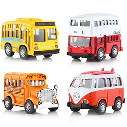 Pull Back Cars Vintage Toy Vehicle Mini Bus with Car Light a