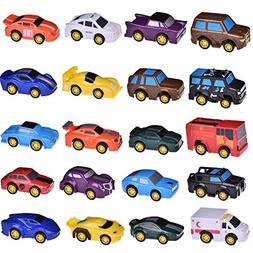 FUN LITTLE TOYS 20 Assorted Pull Back Vehicles, Toy Cars Pla
