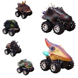 Pull Back Dinosaur Cars, Dino Cars Toys with Big Tire Wheel