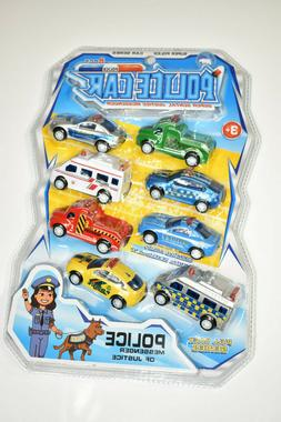 Pull Back Police Vehicles Play Set for Kids, 8 Pack Mini Car