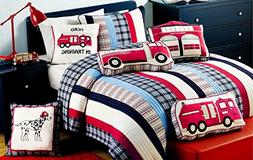 Cozy Line Home Fashions 8-Piece Quilt Bedding Set, Blue Red