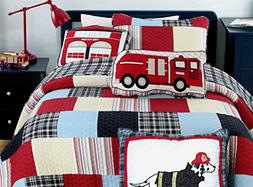 Cozy Line Home Fashions 6-Piece Quilt Bedding Set, Blue Red