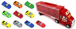 Race Car Semi Trailer Transporter Children's Toy Vehicle Pla