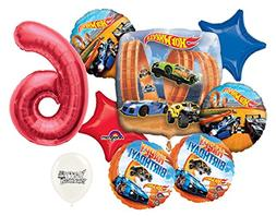 Red Number 6th Birthday Hot Wheels Racing Cars Party Decorat