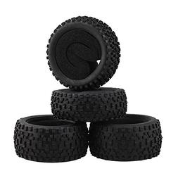 Mxfans 4 Pieces Rubber Black Spot Shape Tyres Fits for RC 1/