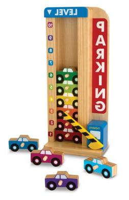 Melissa & Doug Stack & Count Wooden Parking Garage With 10 C