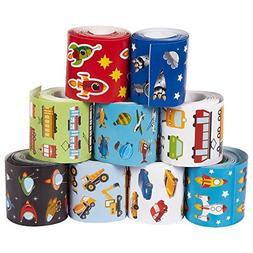 Juvale Stickers Kids - 9 Rolls Transportation Stickers Pack,