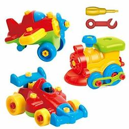 Take Apart Toys Set - Airplane Toy - Train Toy - Racing Car