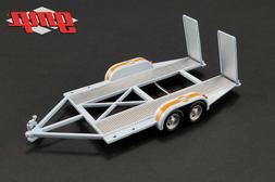 """TANDEM CAR TRAILER WITH TIRE RACK """"GULF OIL"""" FOR 1/43 MODEL"""