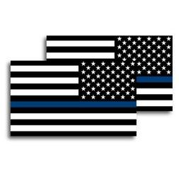 Thin Blue Line American Flag Magnets 2 Pack 3x5 inch Decals