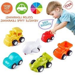 VATOS Toddler Car Toys, 6 Pack Toy Cars Free Wheel, City Tra