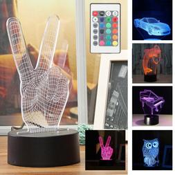 Touch 7 Color LED Lamp Base For 3D Illusion Acrylic Light Pa