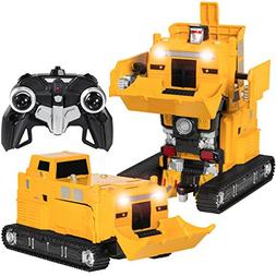 Best Choice Products Toy Transformer RC Robot Pushdozer Remo