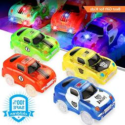 ROYI Track Car 4 Packs Light-Up Fast Speed Magic Fast Track
