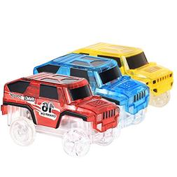 Makerfun Track Racing Car Toy 3 pcs Truck with LED Lights Gl