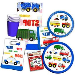 Cars and Trucks Party Supplies Ultimate Set -- Birthday Part