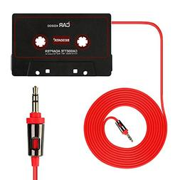 Universal Car Audio Cassette Adapter for Smartphones, 3.5mm