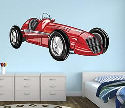 Vintage Sport Race Car Wall Decal Nursery Art Kids Bedroom D