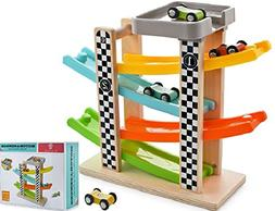 Wooden Ramp Racer Race Track Toy Car Vehicle Activity Playse