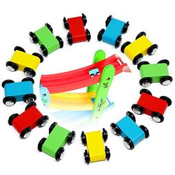 Lewo 12 Pack Mini Wooden Race Replacement Cars for Ramp Toy