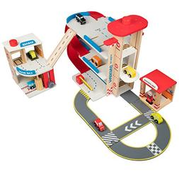Wooden Toy Car Garage Playset for Toddlers w Car Wash & Gas