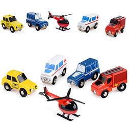 Wooden Toy City Cars and Emergency Vehicles Play Set Collect