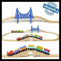 Wooden Train Cars Railroad Tracks For Kids Toddler Toys Boys