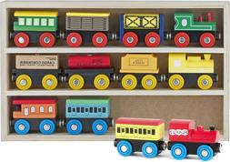 Wooden Train Set 12 PCS Toys Magnetic Includes 3 Engines Toy