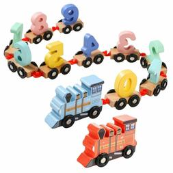 Efoshm Wooden Train Toy Set 12Pcs-Train Cars Digital Toy Set