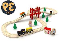 39 Pcs Wooden Train Tracks Set For Kids Toddler Toy Children