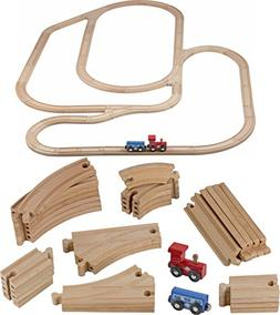 Play22 Wooden Train Tracks - 52 PCS Wooden Train Set + 2 Bon